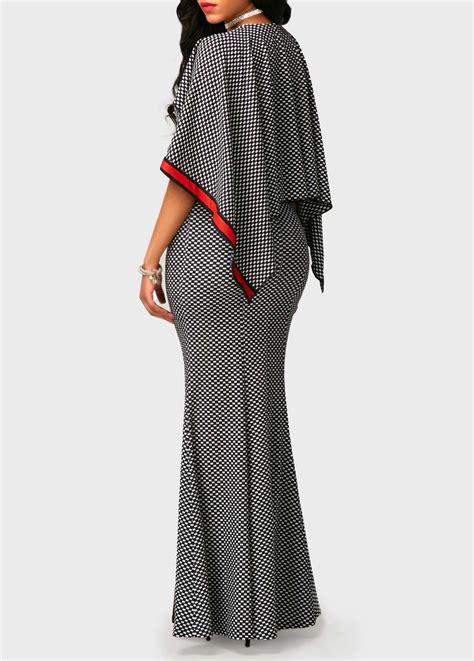 V Neck Printed Dress v neck high waist printed mermaid dress maxi dresses