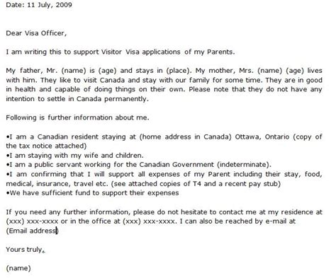 Invitation Letter For Visitor Visa Canada April 2010