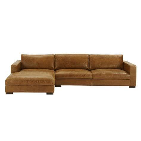 Vintage Leather Corner Sofa 5 Seater Vintage Leather Corner Sofa Camel Lincoln Maisons Du Monde