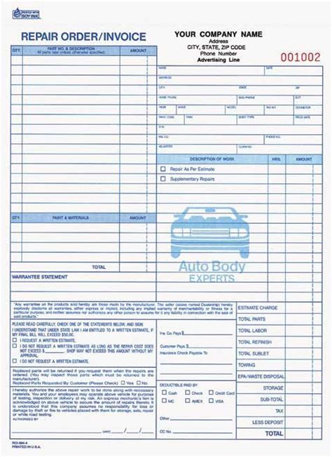 auto mechanic work order template mechanic shop invoice part auto repair order invoice