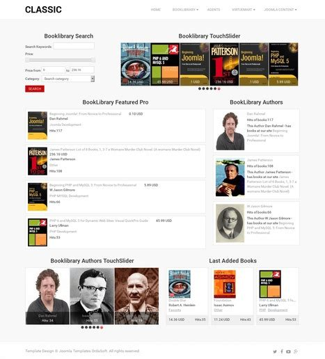 template joomla library classic book library is online library website template