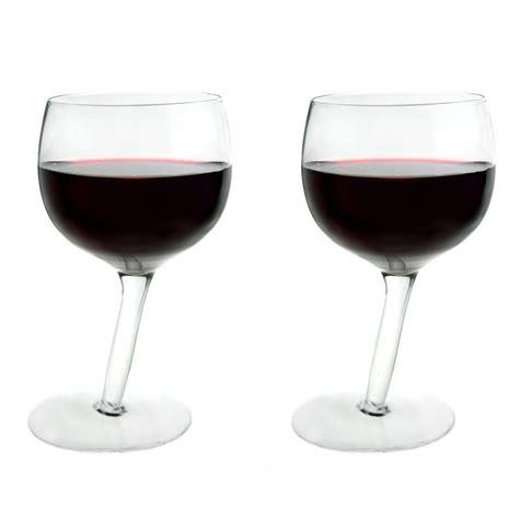 Tilted Bar Glasses Tipsy Wine Glasses Set Of 2 Leaning 300ml Wine Glass
