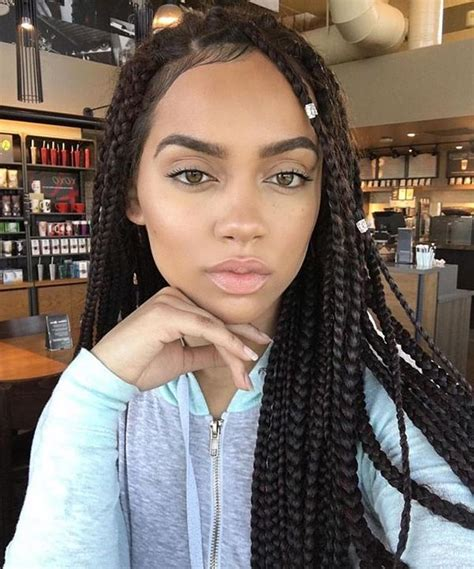 box braids with the front braided to the scalp box braids hairstyles hairstyles with box braids