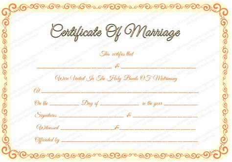 free printable marriage certificate template marriage certificate template certificate templates