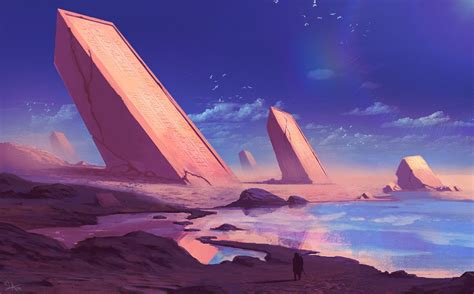 field  hieroglyphics fantasy landscape sky