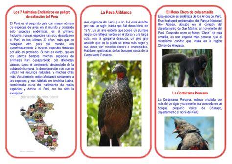 animales peligro extincion peru para colorear triptico de animales en peligro de extincion del peru