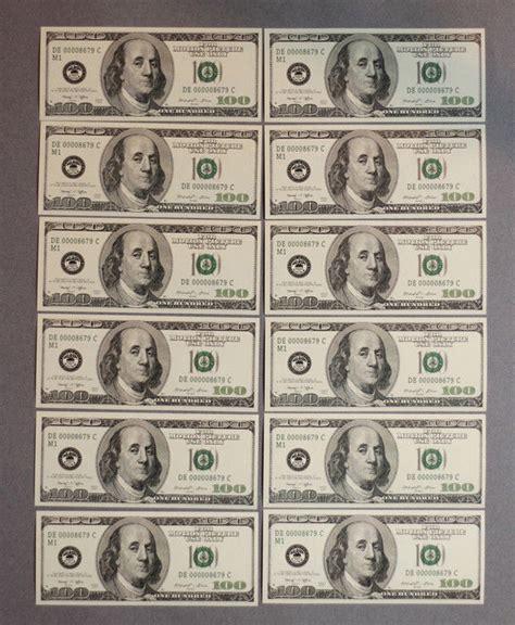 printable fake school money prop money 100s 12 total 1 sided bills for movie tv