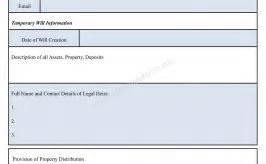 temporary will template witness affidavit form affidavit sle template
