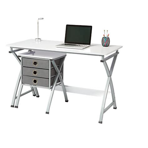 Office Depot White Desk Brenton Studio X Cross Desk And File Set White By Office Depot Officemax