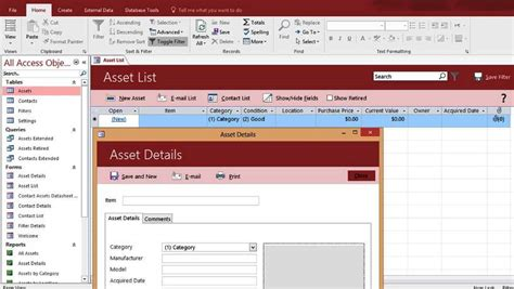 Microsoft Access Asset Tracking Management Database Templates For Microsoft Access 2016 Access 2016 Asset Management Database Design Template