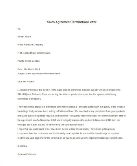 termination letter sales agreement 32 termination letter exles doc pdf ai free