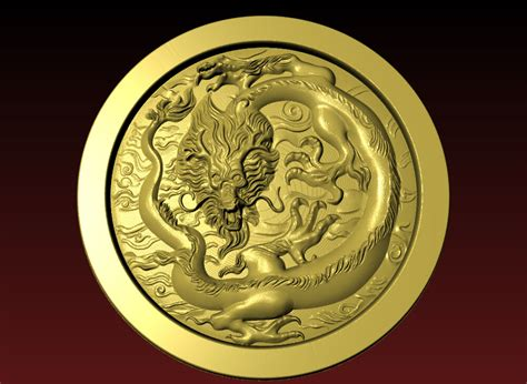 chinese dragon stl  model  cnc router relief
