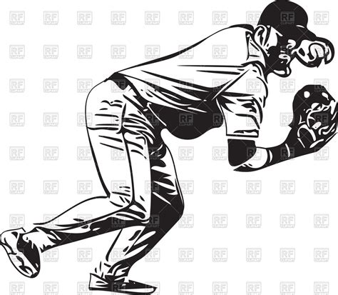 clipart vectors illustration of baseball player vector image of