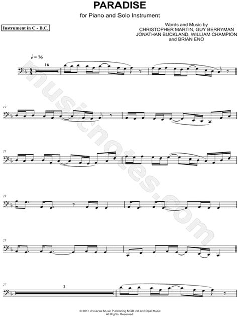 sheet music paradise coldplay quot paradise bass clef instrument quot sheet music