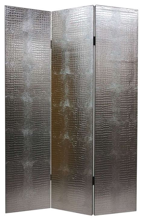 room dividers wall panels silver tone faux leather crocodile room divider 3