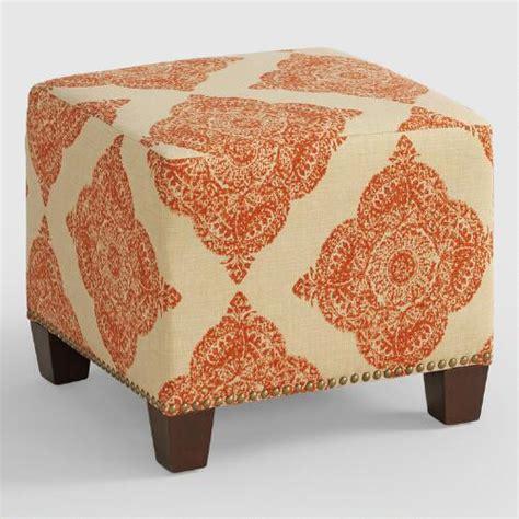 Terracotta Mani Mckenzie Upholstered Ottoman World Market Cost Plus Ottoman