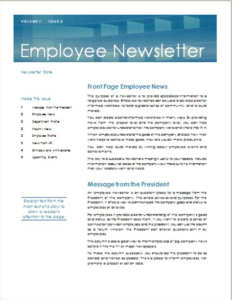 15 Editable Newsletter Templates For Ms Word Document Hub Staff Newsletter Templates Free