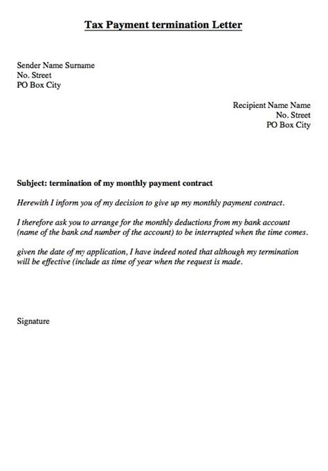cancellation waiver letter tax monthly payment of termination letter http