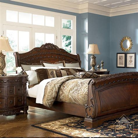 north shore sleigh bedroom set ashley furniture homestore north shore sleigh headboard