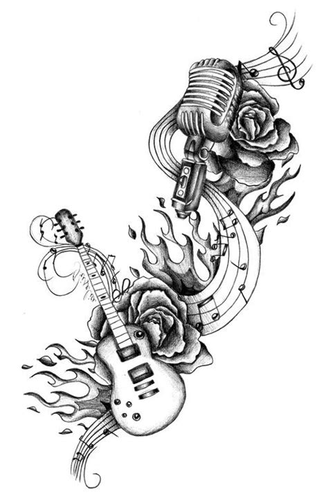 guitar rose mic music tattoo skin deep pinterest