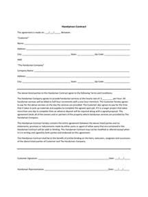 handyman contract template 1 free templates in pdf word