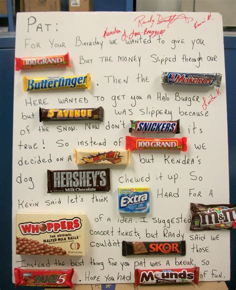 Birthday Card Made Out Bars Candy Bar Quotes Quotesgram