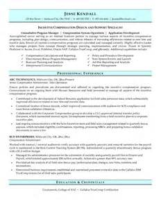 exle compensation administrator resume free sle