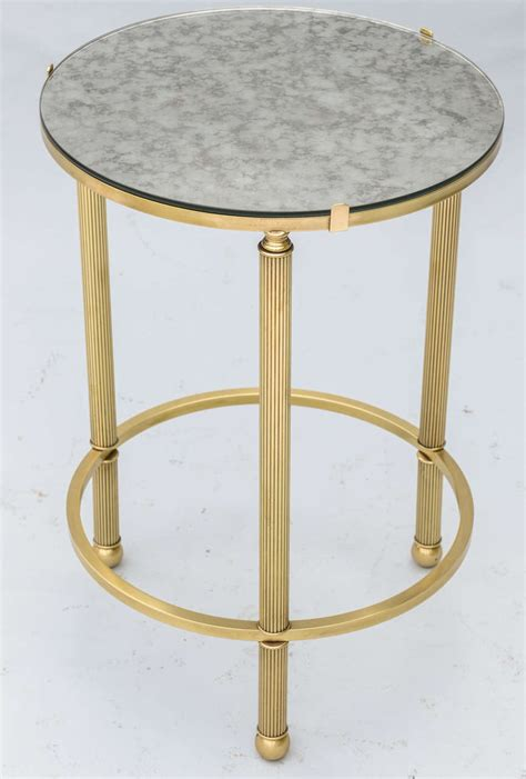 round mirrored accent table round brass accent table with mirrored top at 1stdibs