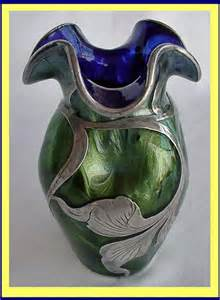 Engraved Flower Vase Blue Gold Loetz Titania Glass Vase W St Silver For Sale