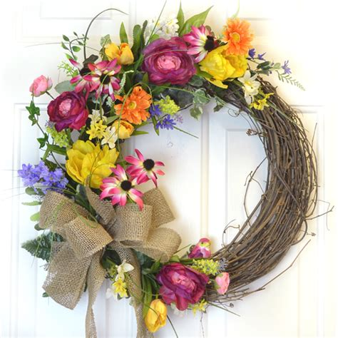grapevine floral design home decor the flower garden silk wreath with tulips and bird wr4784 out