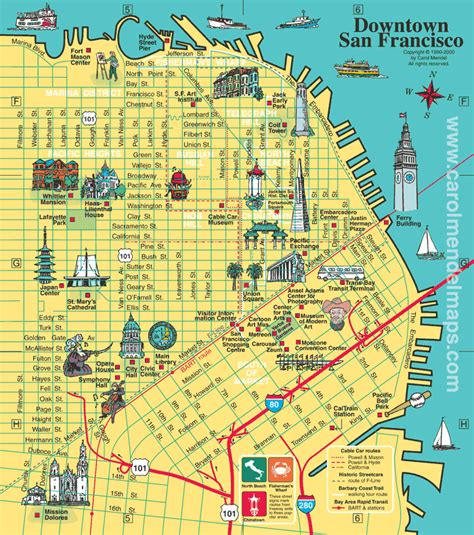San Francisco On Map by Medium Sized Downtown San Francisco Map