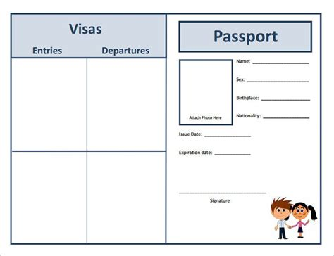 Passport Templates For Teachers by Passport Template 19 Free Word Pdf Psd Illustrator