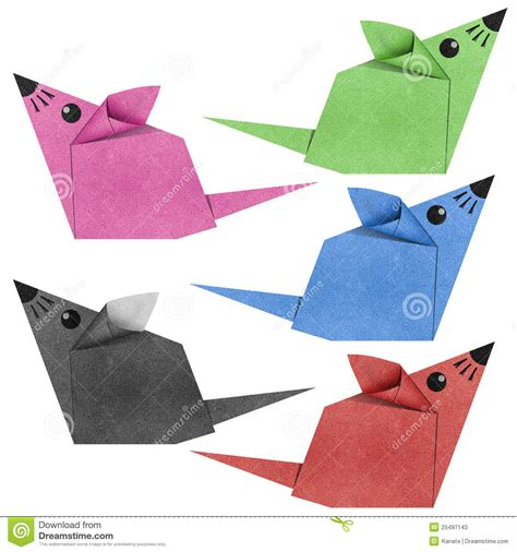 Mouse Origami - origami mouse recycled papercraft stock photos image