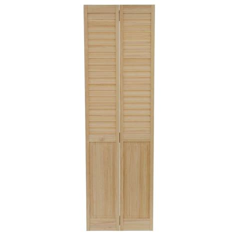 Bi Fold Louvered Closet Doors Bay 24 In X 80 In 24 In Plantation Louvered Solid Unfinished Panel Wood
