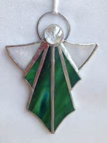 stained glass ornament green angel stained glass