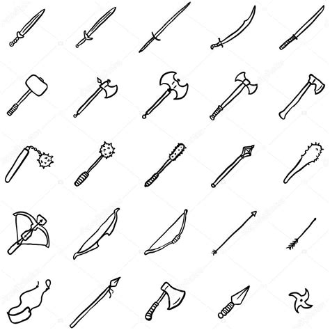 doodle how to make weapon doodle weapon icons stock vector 169 nikiteev