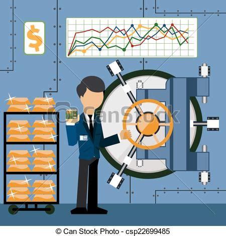 impiegato di banca vettore di barre oro camion banca impiegato scheda