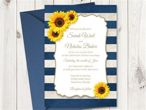 Sunflower Wedding Invitations Templates sunflower wedding invitation printable template with navy