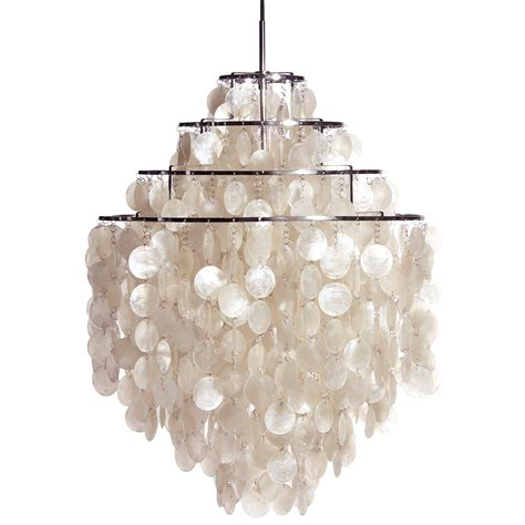 Large White Fun 0 Dm Shell Capiz Ceiling Light Pendant White Shell Chandelier