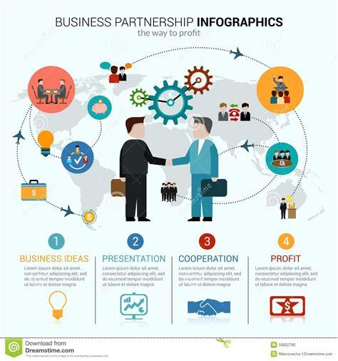 business partnership infographics stock vector image