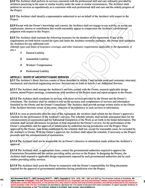 aia contract template appendix b aia document b101 2007 standard form of
