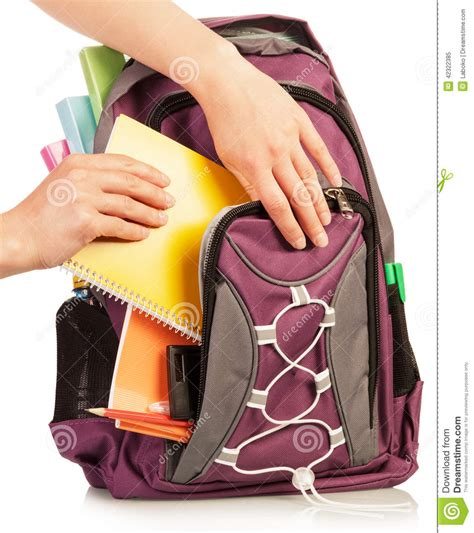 Put In The Bag with exercise book and bag stock photo image 42322385