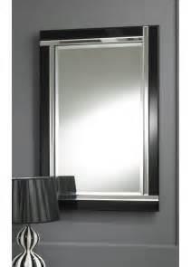 modern deco black wall mirror