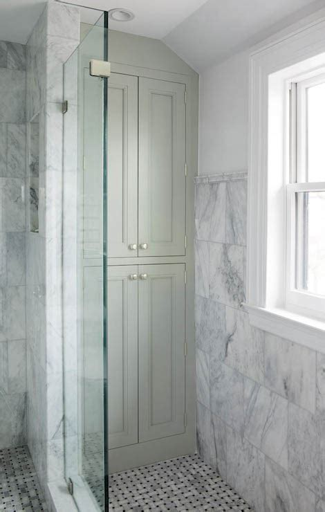 built in linen cabinets transitional bathroom crown