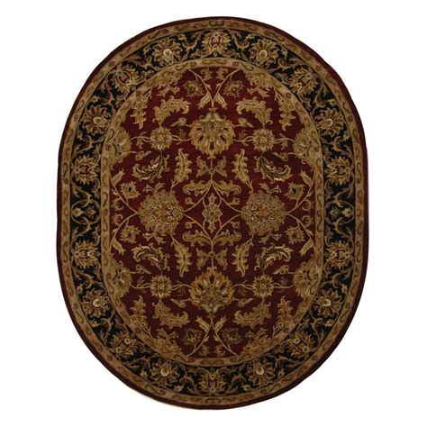 oval accent rugs safavieh heritage red black 5 ft x 8 ft oval area rug hg628c 5ov the home depot