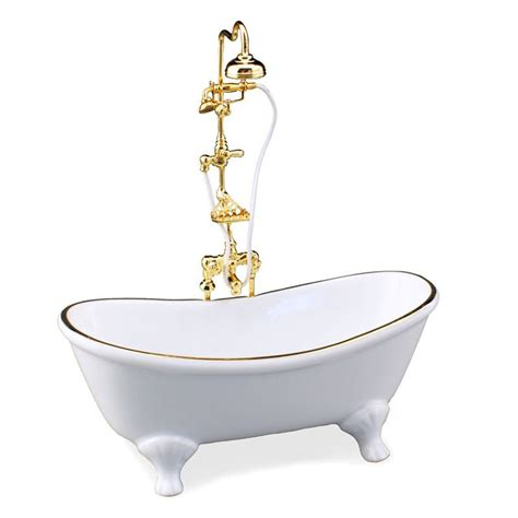dollhouse bathtub dollhouse miniature classic white bathtub w shower ebay
