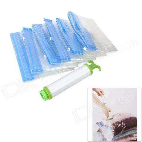 Vacum Storage Bag Free Pompa 6 storage compression seal vacuum bag set w manual air blue transparent worldwide