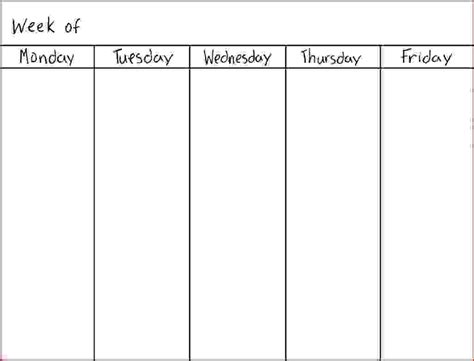 5 day weekly calendar template online calendar templates