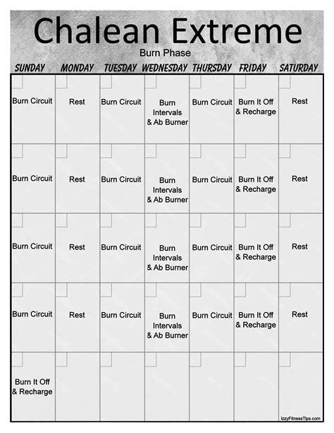 Chalean Workout Calendar Chalean Workout Calendar