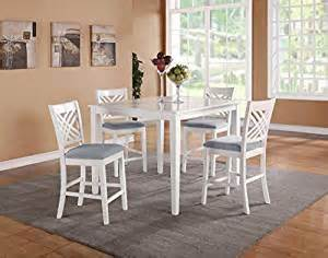White Square Kitchen Table Standard Furniture White Square Counter Height Table W 4 Chairs Ca Home Kitchen